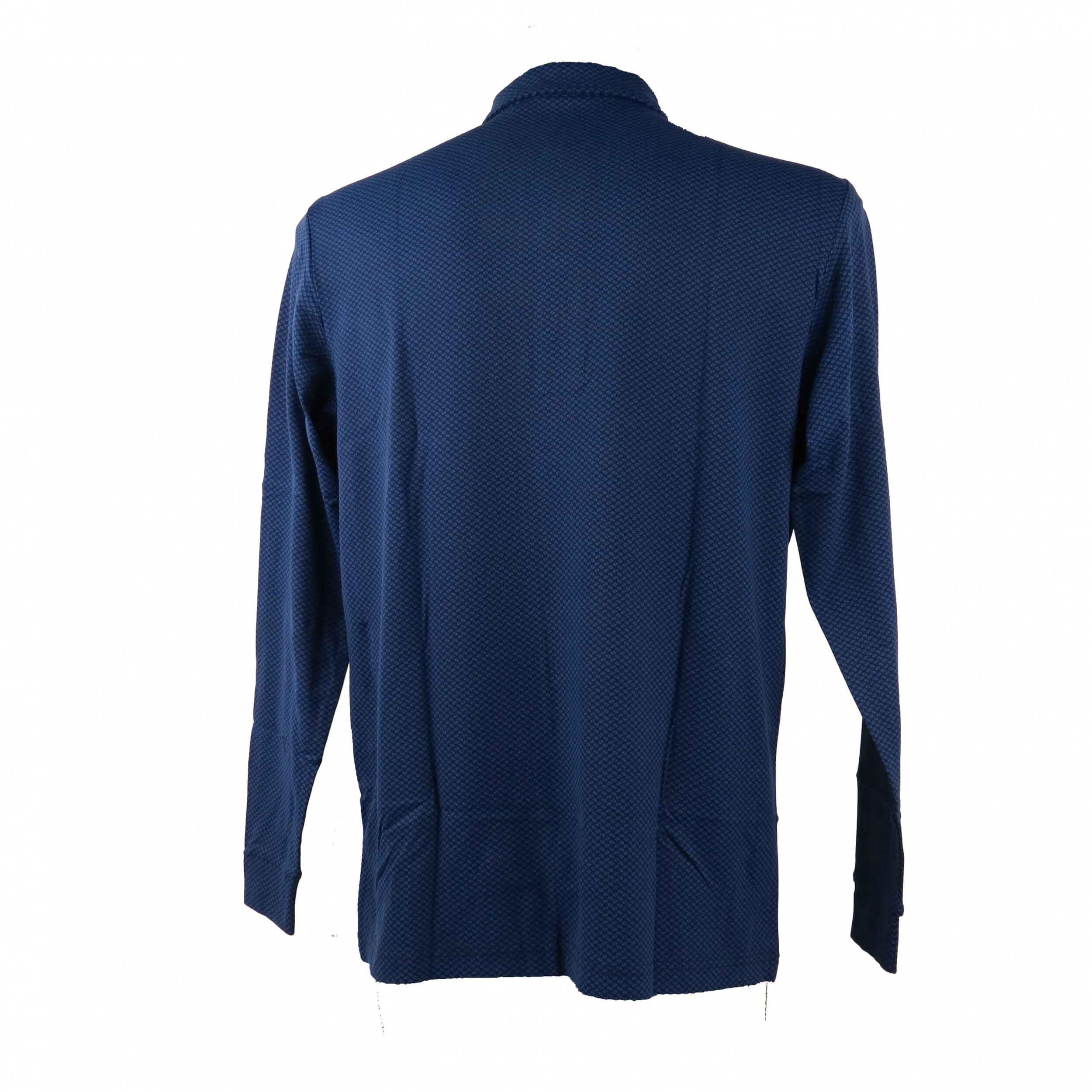 Chervo Herren Polo lang Arm Aurucon blau gemustert 63E