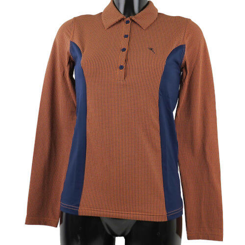 Chervo Damen Polo lang Arm COMFORT Apuleo orange navy 86E
