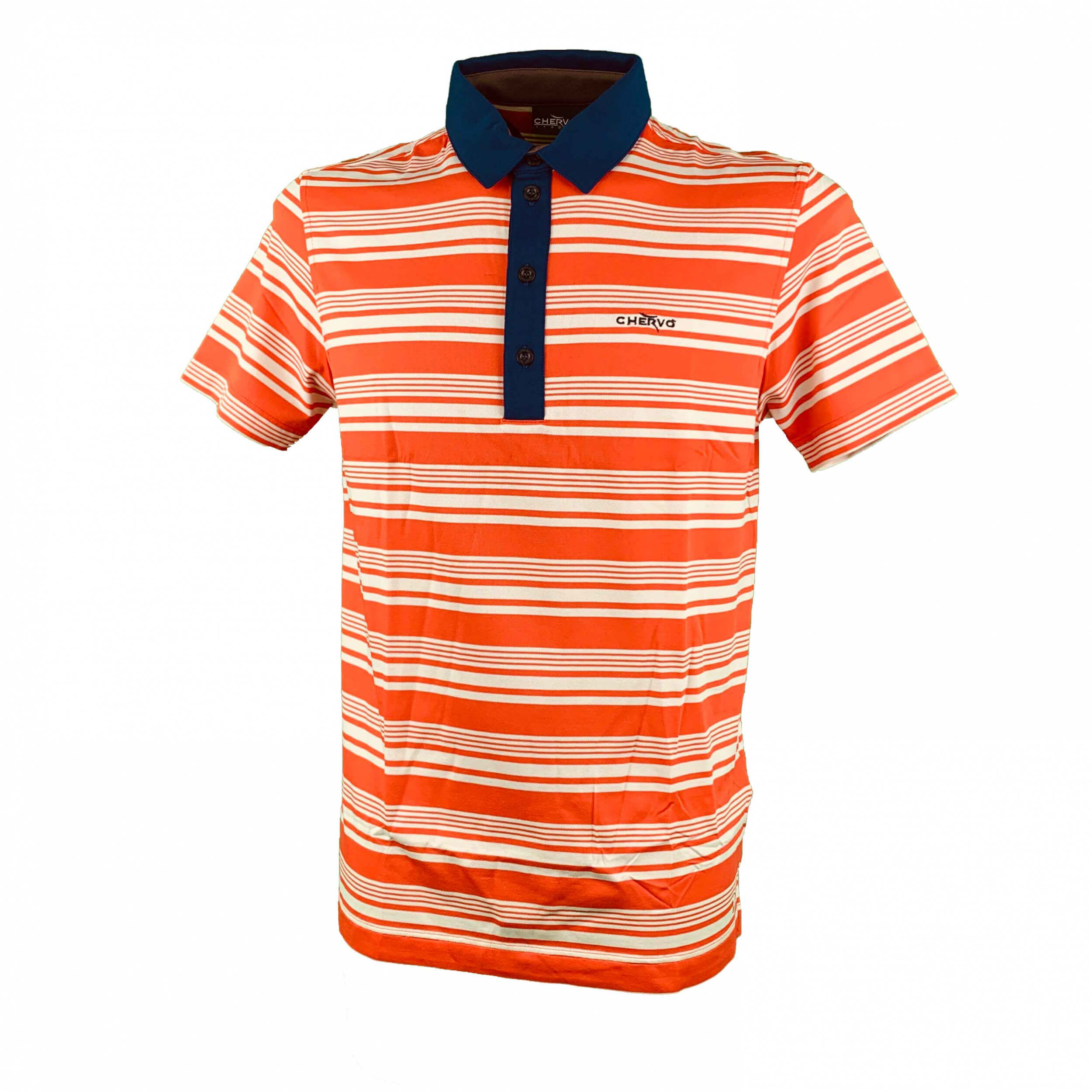 Chervo Herren Polo Amblar DRY MATIC orange gestreift 81C