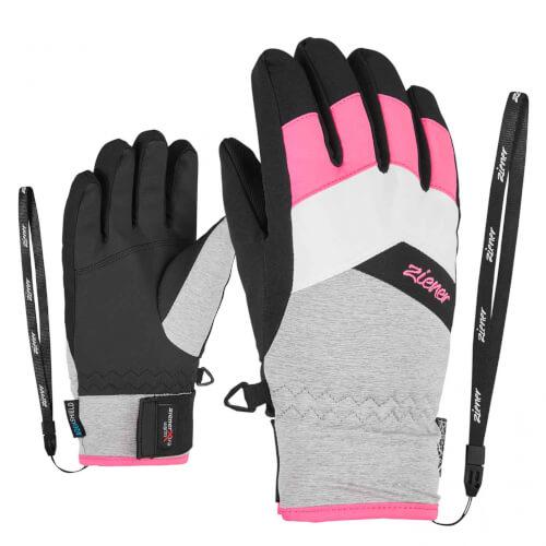ZIENER Kinder Ski-Handschuhe Lilli AQUASHIELD grau 823