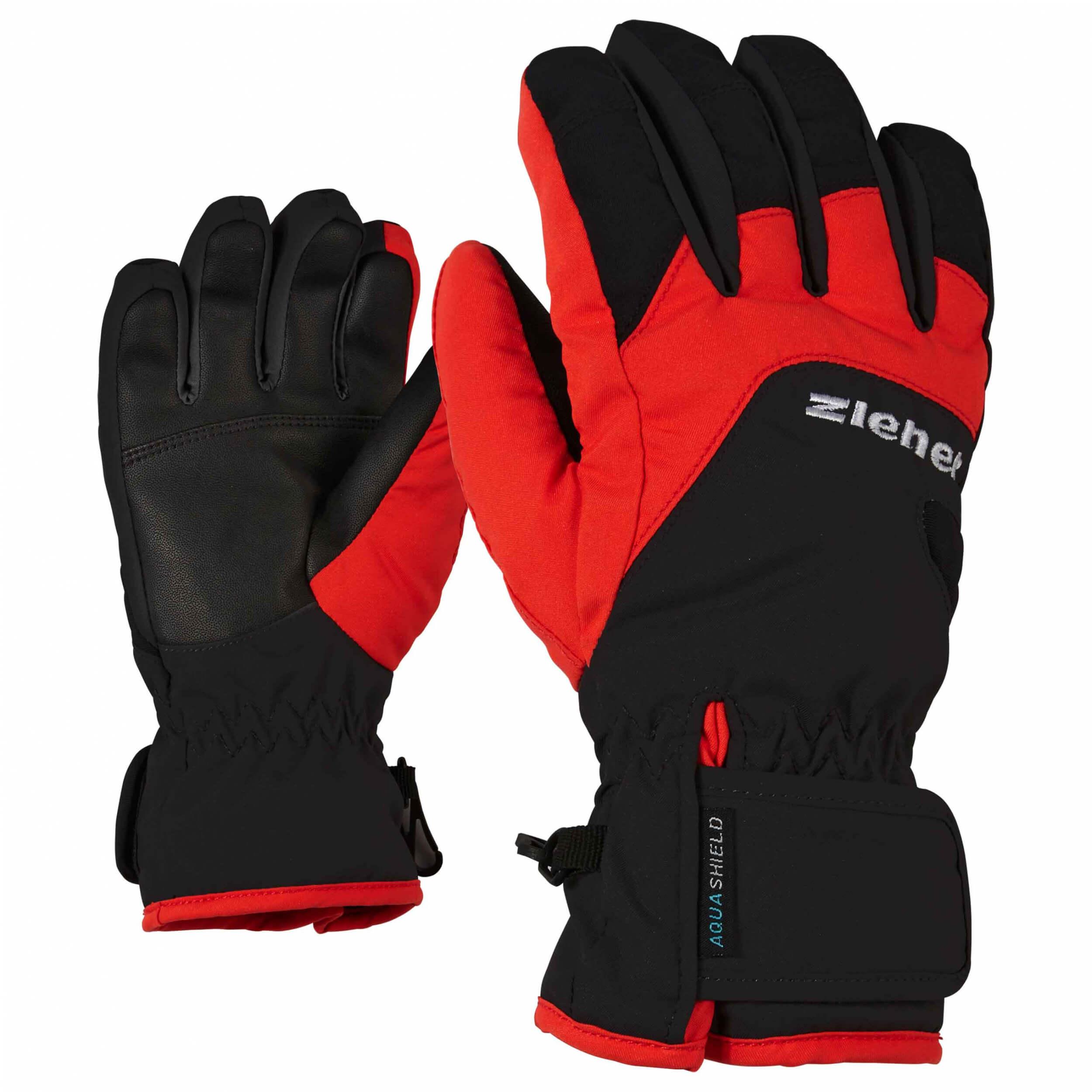 ZIENER Kinder Handschuhe AQUASHIELD Lizzard schwarz rot 12888