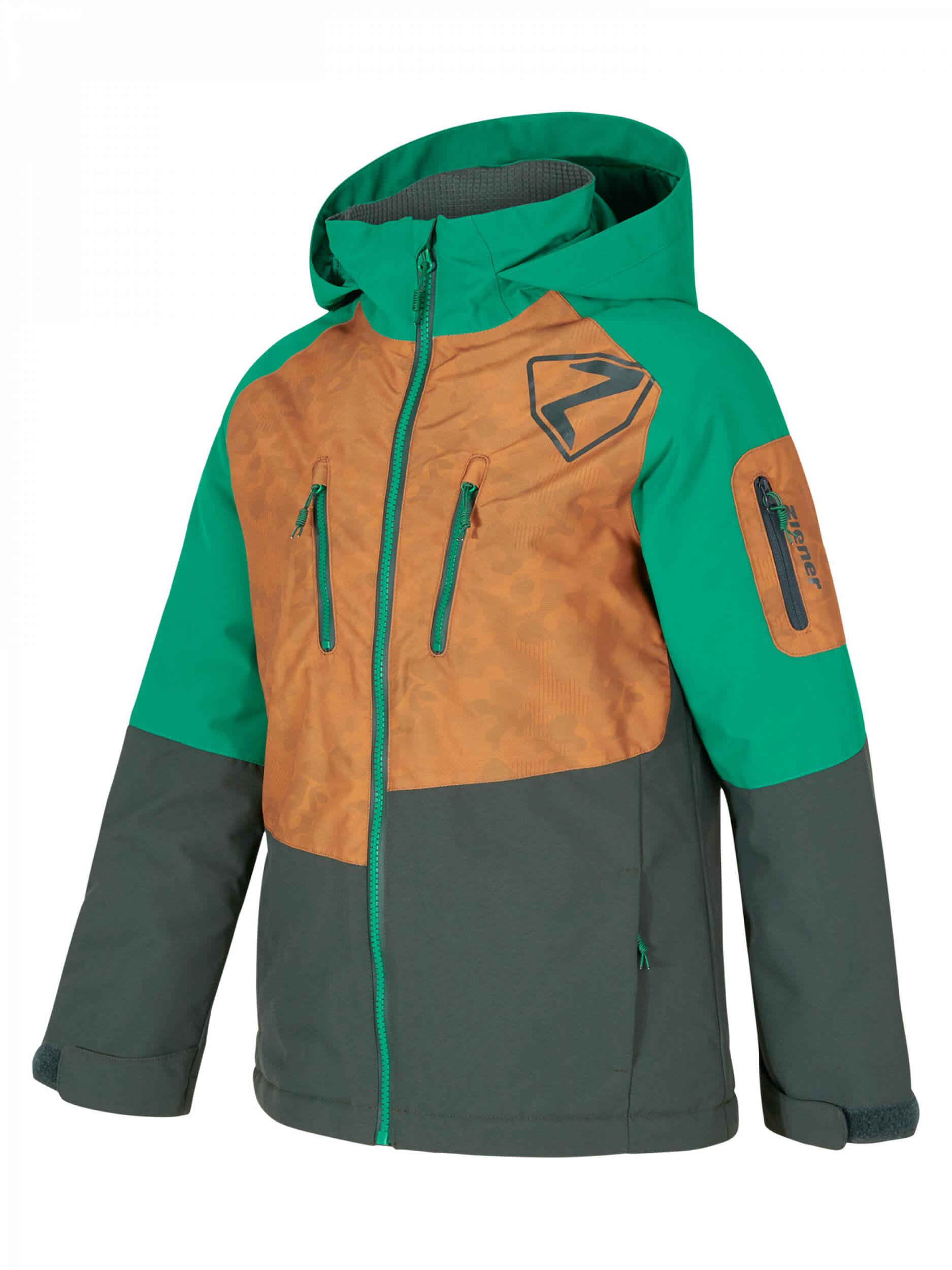 ZIENER Kinder Skijacke Anoah AQUASHIELD braun grün 938