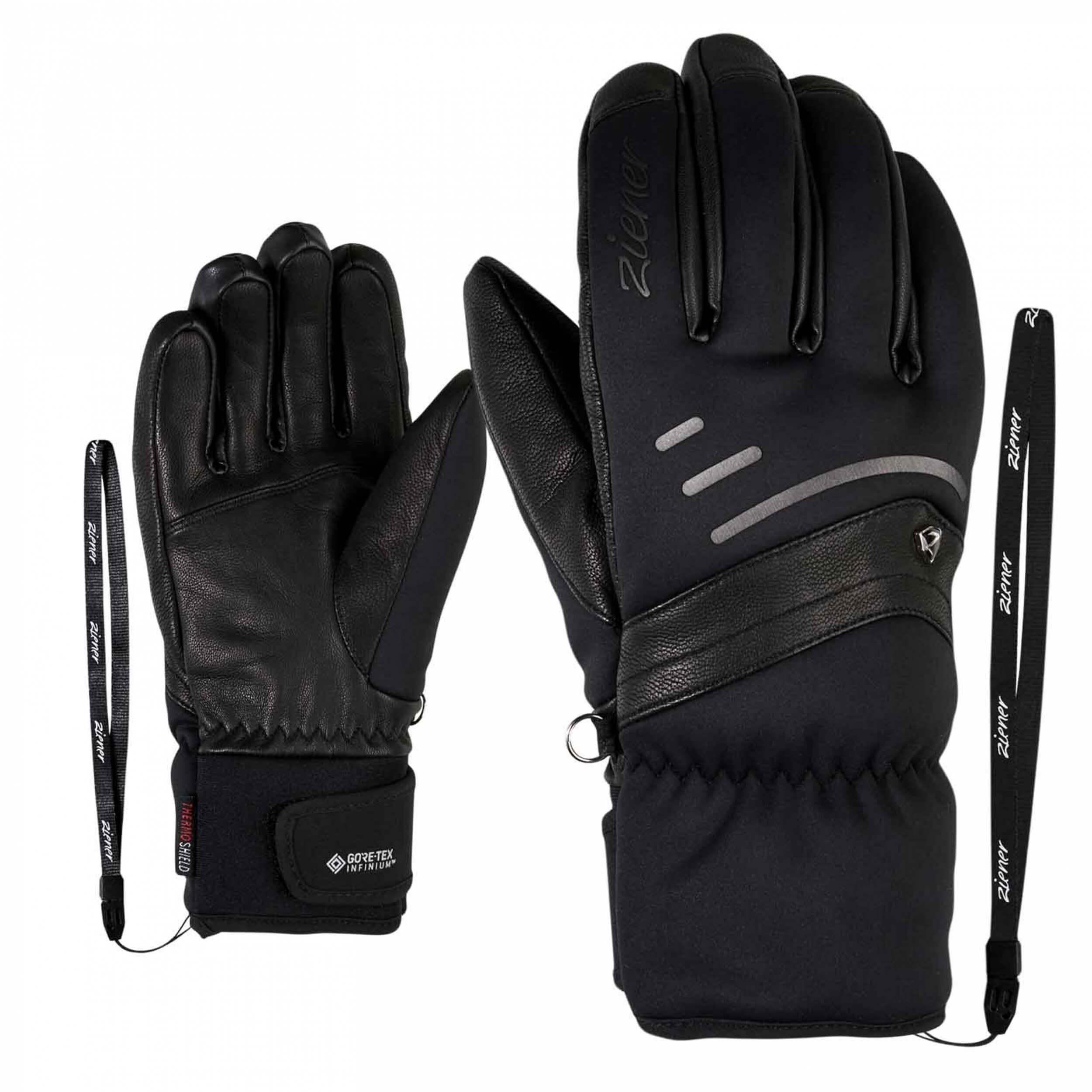 ZIENER Damen Ski Handschuhe Korall GORETEX schwarz 12