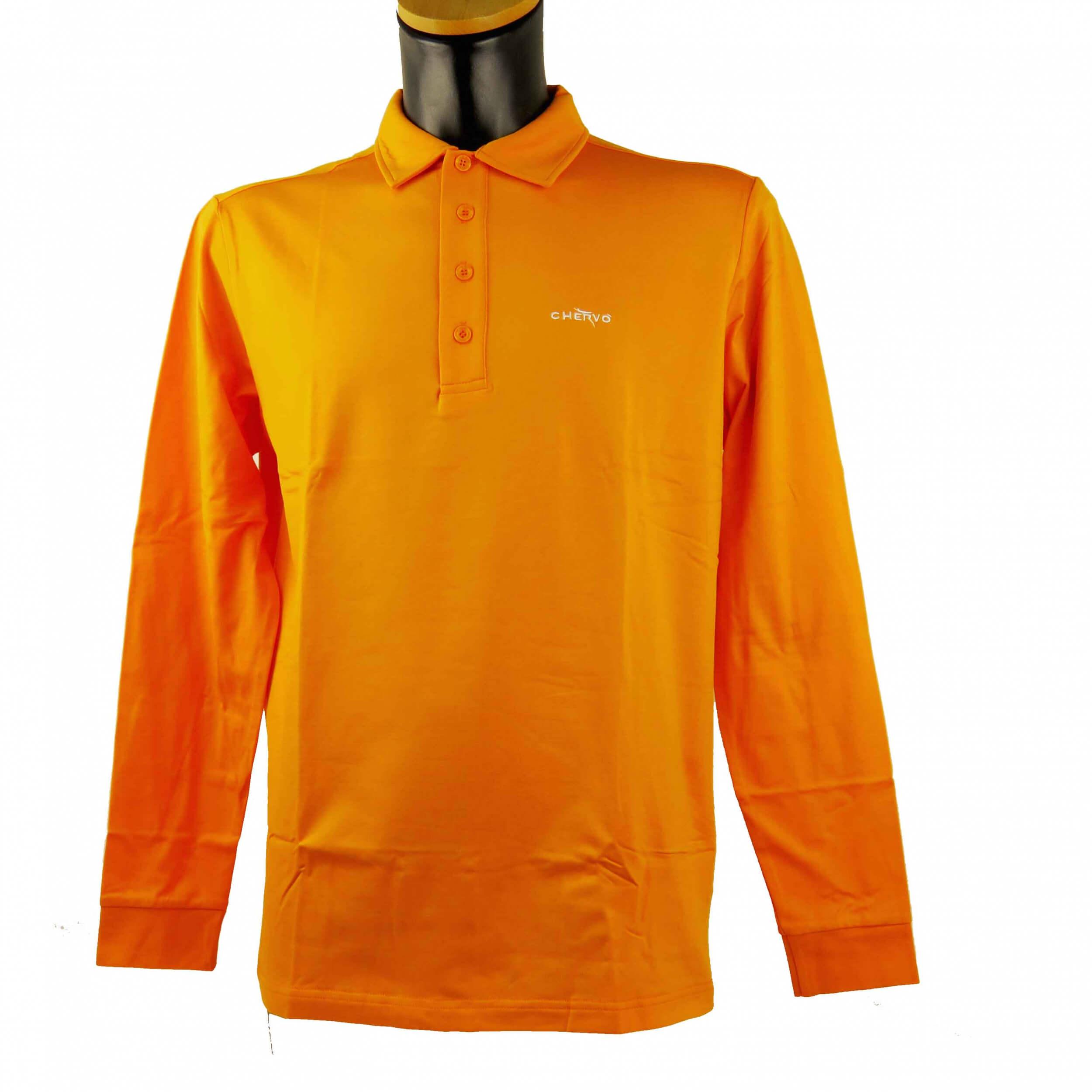 Chervo Herren Polo lang Arm Aurucon orange 2.Wahl