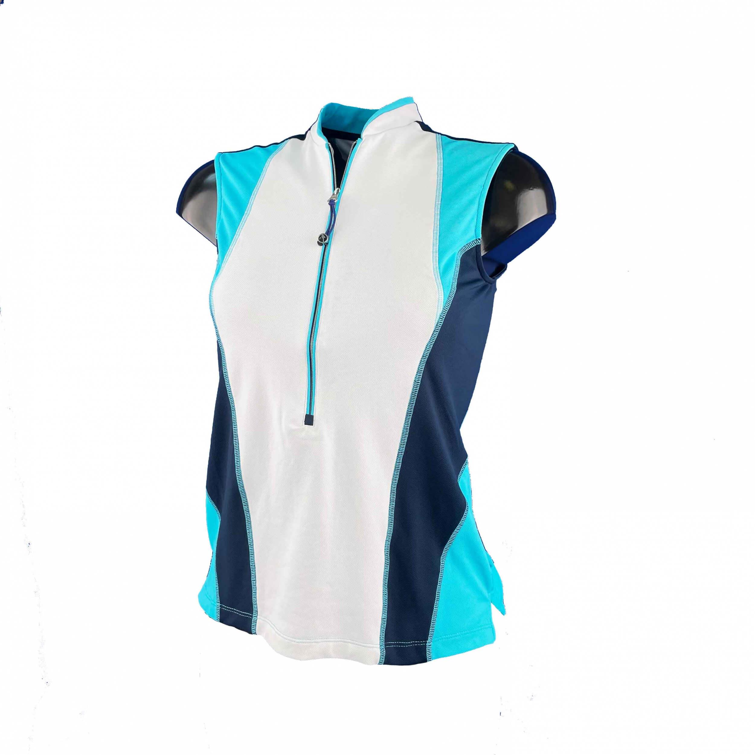 Chervo Damen Polo Top Albizia DRY MATIC weiß blau A38 2.Wahl
